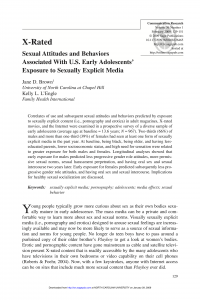 X-Rated: Sexual Attitudes and Behaviors Associated With U.S. Early Adolescents' Exposure to Sexually Explicit Media