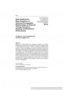 arly Adolescent Boys' Exposure to Internet Pornography: Relationships to Pubertal Timing, Sensation Seeking, and Academic Performance