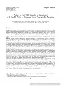 Fiction or Not? Fifty Shades is Associated with Health Risks in Adolescent and Young Adult Females