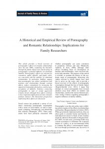 A Historical and Empirical Review of Pornography and Romantic Relationships: Implications for Family Researchers