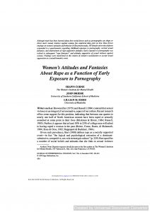 Women's Attitudes and Fantasies About Rape as a Function of Early Exposure to Pornography