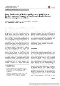 Lower Psychological Well-Being and Excessive Sexual Interest Predict Symptoms of Compulsive Use of Sexually Explicit Internet Material Among Adolescent Boys