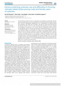 Factors predicting cybersex use and difficulties in forming intimate relationships among male and female users of cybersex