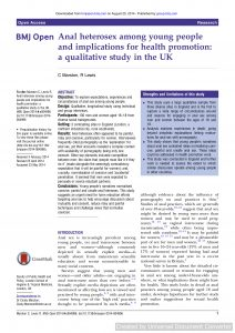 Anal heterosex among young people and implications for health promotion: a qualitative study in the UK