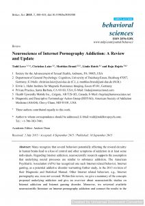 Neuroscience of Internet Pornography Addiction: A Review and Update