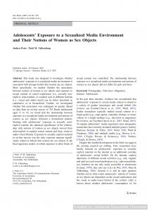 Adolescents' Exposure to a Sexualized Media Environment and Their Notions of Women as Sex Objects