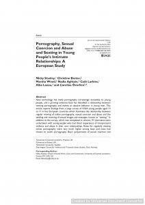 Pornography, Sexual Coercion and Abuse and Sexting in Young People's Intimate Relationships: A European Study