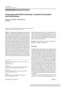 Pornography and the Male Sexual Script: An Analysis of Consumption and Sexual Relations