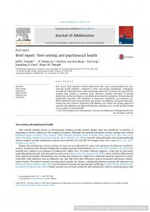 Brief report: Teen sexting and psychosocial health