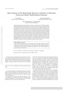 Meta-analyses of the relationship between conformity to masculine norms and mental health-related outcomes.