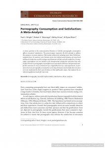 Pornography Consumption and Satisfaction: A Meta‐Analysis