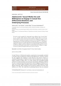 Adolescents' Sexual Media Use and Willingness to Engage in Casual Sex: Differential Relations and Underlying Processes