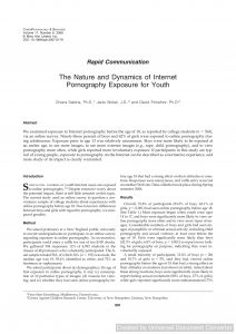 The Nature and Dynamics of Internet Pornography Exposure for Youth
