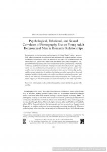 Psychological, Relational, and Sexual Correlates of Pornography Use on Young Adult Heterosexual Men in Romantic Relationships