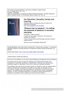'Pleasure has no passport': re-visiting the potential of pleasure in sexuality education