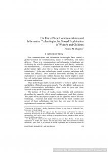 The Use of New Communication and Information Technologies for the Sexual Exploitation Of Women and Children