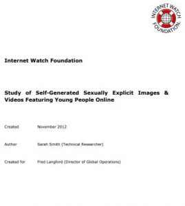 Study of Self-Generated Sexually Explicit Images & Videos Featuring Young People Online