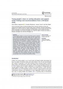 Young people's views on sexting education and support needs: findings and recommendations from a UK-based study