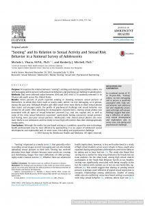 """""""Sexting"""" and Its Relation to Sexual Activity and Sexual Risk Behavior in a National Survey of Adolescents"""