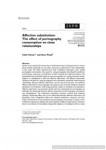 Affection substitution: The effect of pornography consumption on close relationships