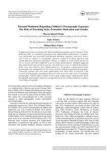 Parental Mediation Regarding Children's Pornography Exposure: The Role of Parenting Style, Protection Motivation and Gender