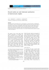 Sexual media use and relational satisfaction in heterosexual couples