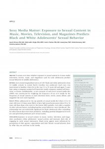 Sexy Media Matter: Exposure to Sexual Content in Music, Movies, Television, and Magazines Predicts Black and White Adolescents' Sexual Behavior