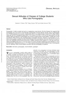 Sexual Attitudes of Classes of College Students Who Use Pornography