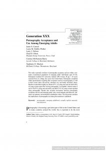 Generation XXX: Pornography Acceptance and Use Among Emerging Adults