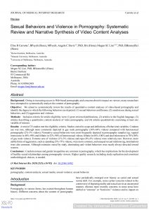 Sexual Behaviors and Violence in Pornography: Systematic Review and Narrative Synthesis of Video Content Analyses