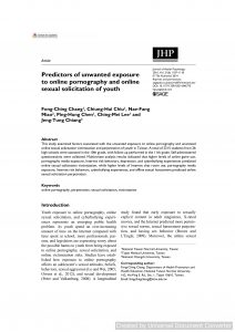 Predictors of unwanted exposure to online pornography and online sexual solicitation of youth