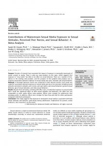Contributions of Mainstream Sexual Media Exposure to Sexual Attitudes, Perceived Peer Norms, and Sexual Behavior: A Meta-Analysis