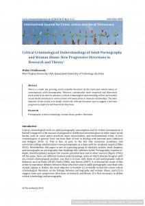Critical Criminological Understandings of Adult Pornography and Woman Abuse: New Progressive Directions in Research and Theory