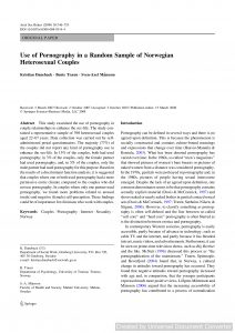 Use of Pornography in a Random Sample of Norwegian Heterosexual Couples