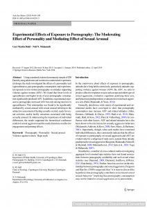 Experimental Effects of Exposure to Pornography: The Moderating Effect of Personality and Mediating Effect of Sexual Arousal