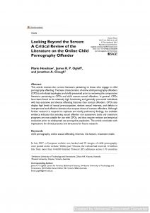 Looking Beyond the Screen: A Critical Review of the Literature on the Online Child Pornography Offender