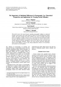 The Importance of Individual Differences in Pornography Use: Theoretical Perspectives and Implications for Treating Sexual Offenders