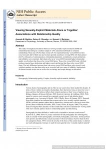 Viewing Sexually-Explicit Materials Alone or Together: Associations with Relationship Quality