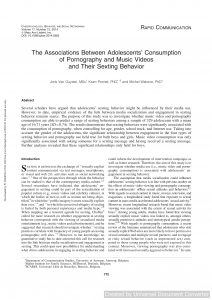 The Associations Between Adolescents' Consumption of Pornography and Music Videos and Their Sexting Behavior