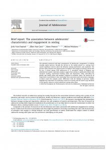 Brief report: The association between adolescents' characteristics and engagement in sexting