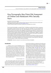 How Pornography May Distort Risk Assessment of Children and Adolescents Who Sexually Harm