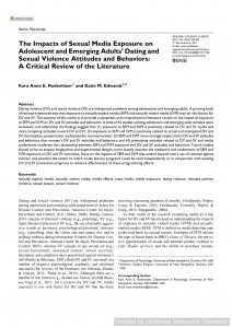 The Impacts of Sexual Media Exposure on Adolescent and Emerging Adults' Dating and Sexual Violence Attitudes and Behaviors: A Critical Review of the Literature