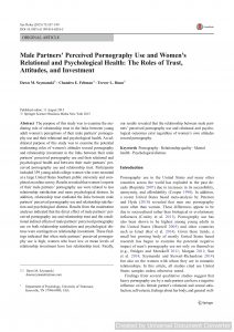 Male Partners' Perceived Pornography Use and Women's Relational and Psychological Health: The Roles of Trust, Attitudes, and Investment