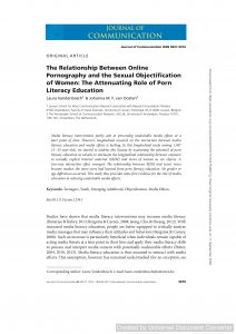 The Relationship Between Online Pornography and the Sexual Objectification of Women: The Attenuating Role of Porn Literacy Education