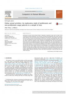 Online sexual activities: An exploratory study of problematic and non-problematic usage patterns in a sample of men