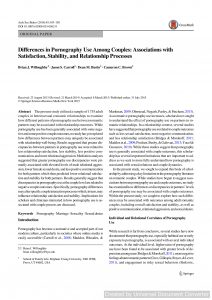 Differences in Pornography Use Among Couples: Associations with Satisfaction, Stability, and Relationship Processes