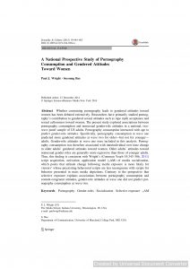 A National Prospective Study of Pornography Consumption and Gendered Attitudes Toward Women
