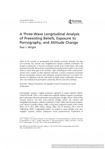 A Three-Wave Longitudinal Analysis of Preexisting Beliefs, Exposure to Pornography, and Attitude Change