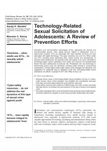 Technology‐Related Sexual Solicitation of Adolescents: A Review of Prevention Efforts