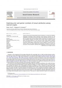 Exploring actor and partner correlates of sexual satisfaction among married couples